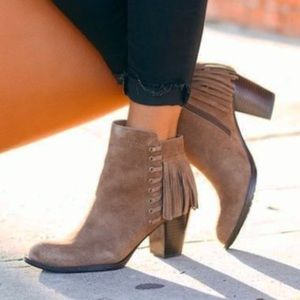 Leather Boho Fringe Block Heel Ankle Booties